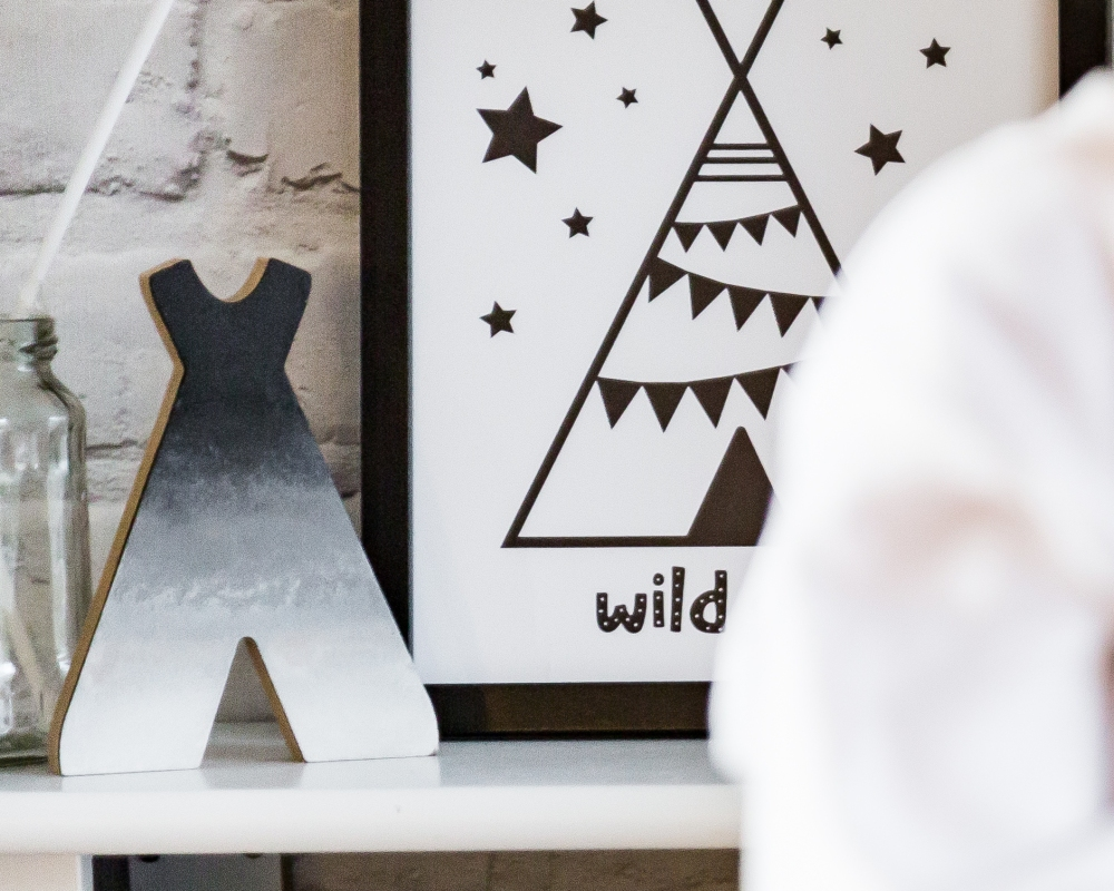 Monochrome birthday party with ombré teepee