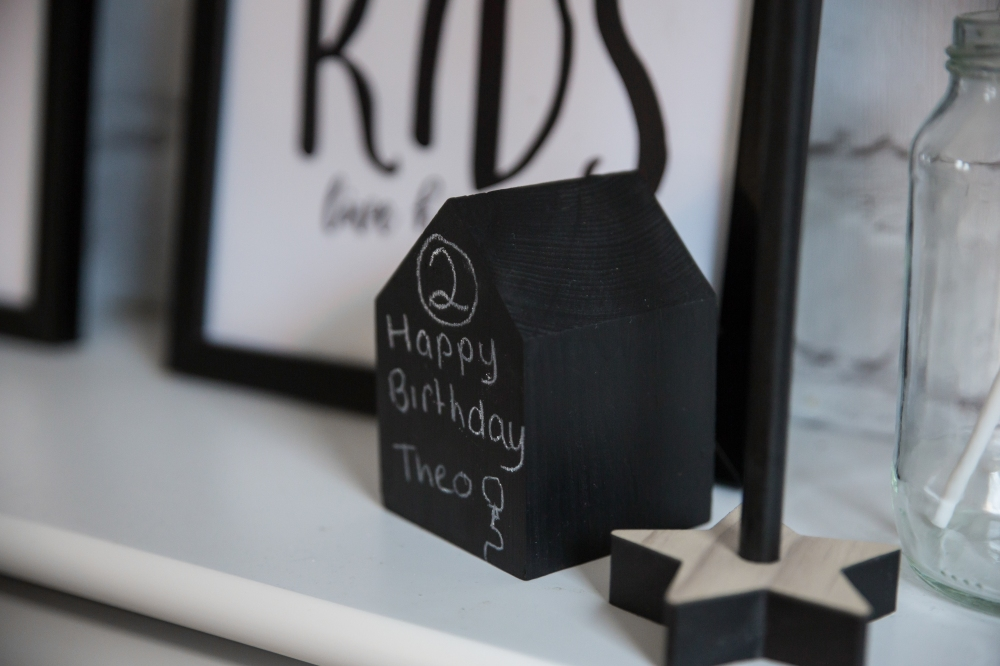 Nursery decor monochrome chalk house