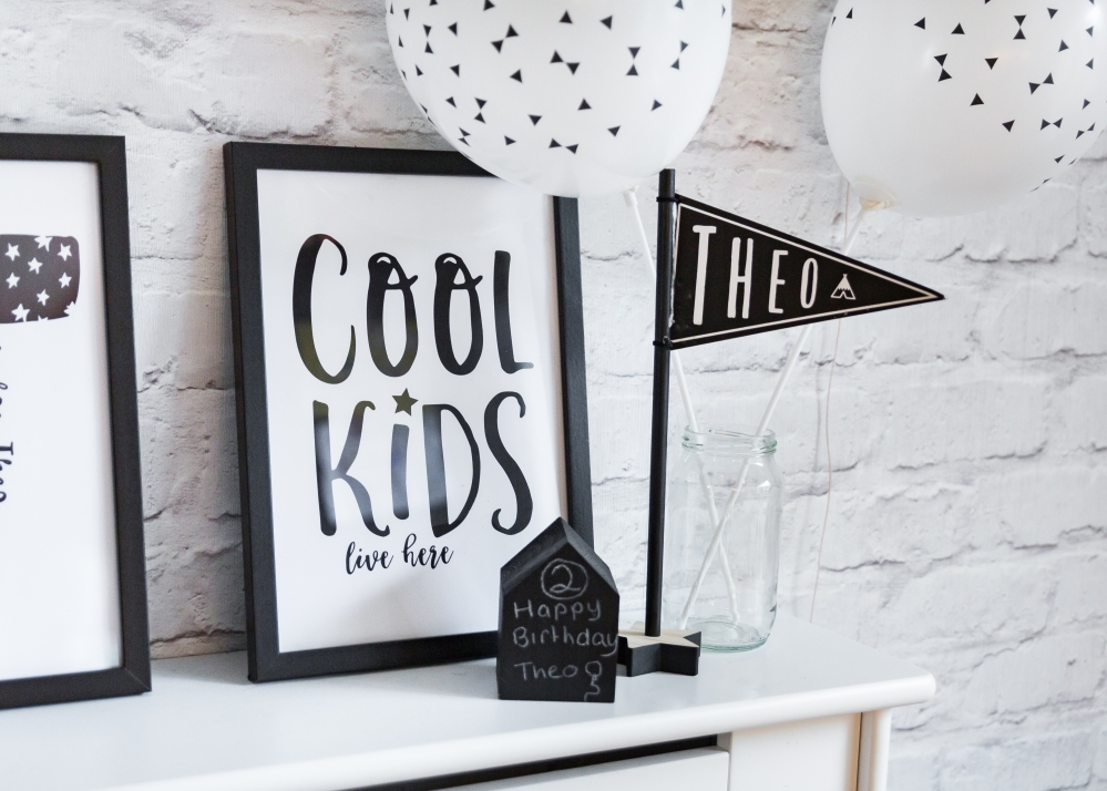 Stylish monochrome prints personalised for birthday party